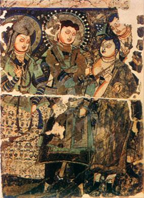Pintura en Pared: Kizil, caverna 205 - El Rey y la Esposa - Siglo  6o de la Era Cristiana. Se encuentra ahora en Berlín
